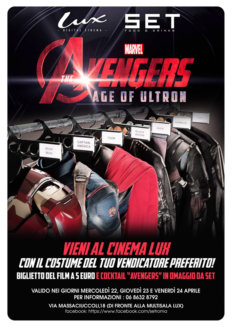 The Avengers Age of Ultron al Cinema Lux e Cocktail da SET |22, 23 & 24 Aprile